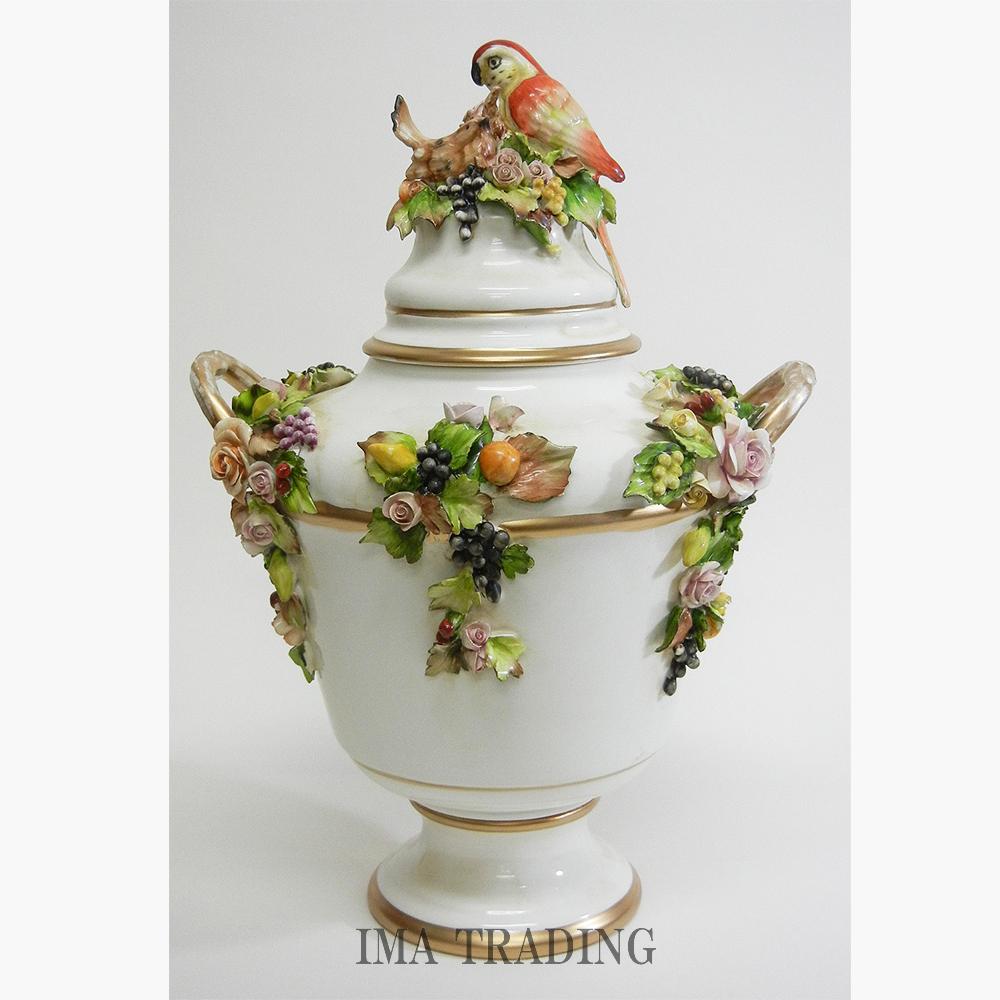 イタリア製 蓋付き花瓶【C6-1931】