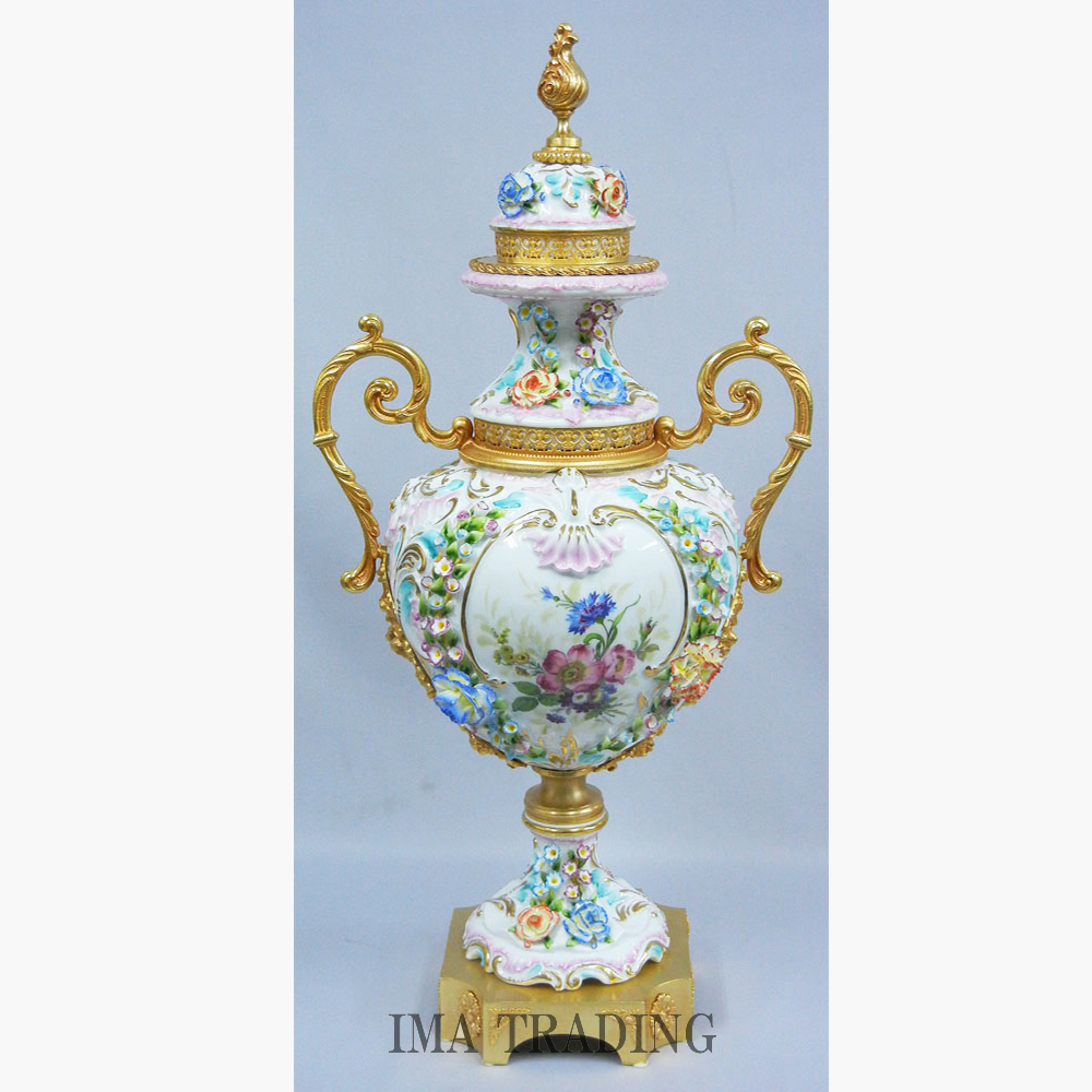 イタリア製 磁器花瓶【L5-229】