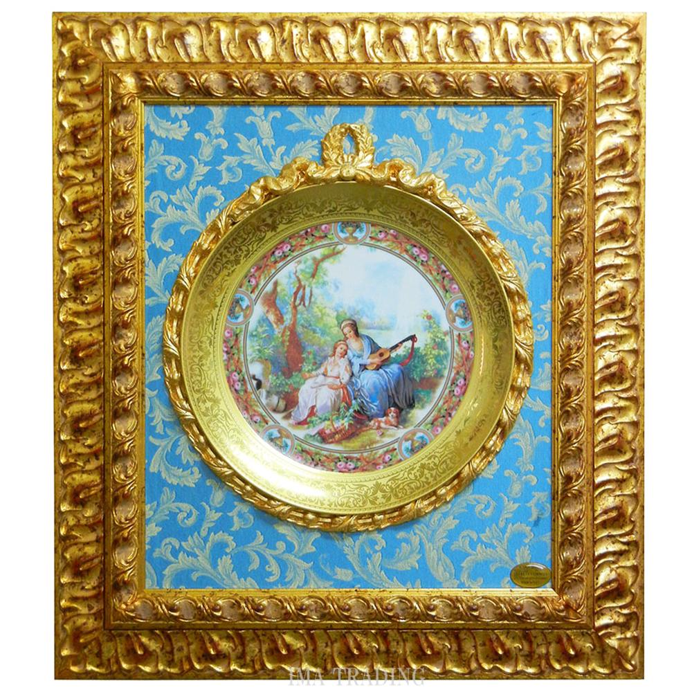 イタリア製 壁掛け絵皿【F8-340】