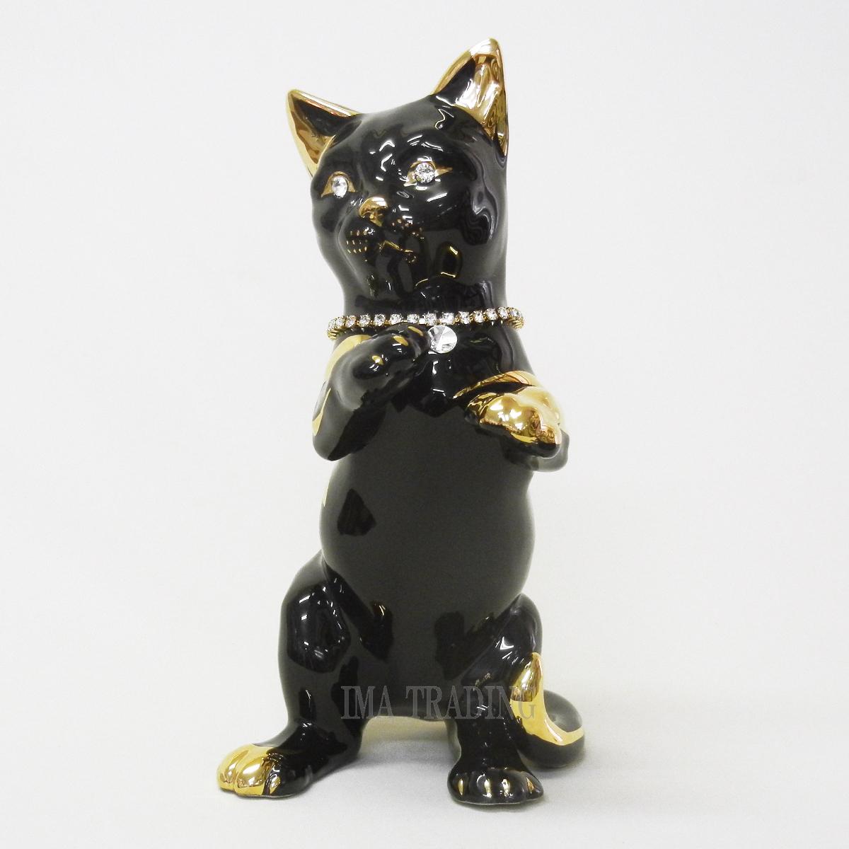 イタリア製 動物置物(ネコ)【M4-1753KN】